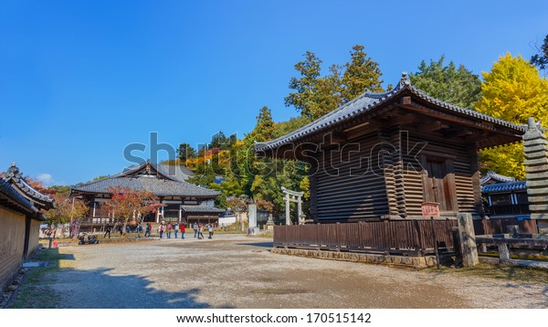 NARA, JAPAN - NOVEMBER 16: Sangatsu-do Hall in Nara, Japan on November 16, 2013. The oldest of the Todai-ji structures dating back to 733, contains a small collection of fine statues from Nara period