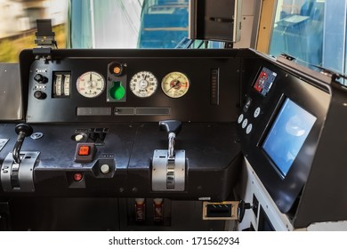 NARA, JAPAN - NOVEMBER 16: Train Dashboard in Nara, Japan on November 16, 2013. A dashboard on a Japanese Limited Express Train travels from Osaka to Nara