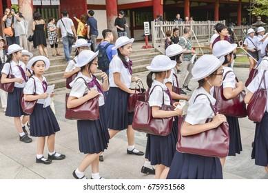 Nara, Japan - September 2016: Japanese schoolgirls on excursion in Nara