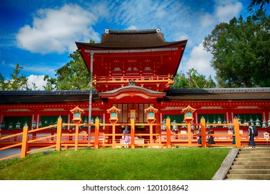 NARA, JAPAN - SEPTEMBER 28: Kasuga taisha shrine 28 September, 2018 at Nara, Japan. Kasuga taisha is a main Shinto shrine in Nara.