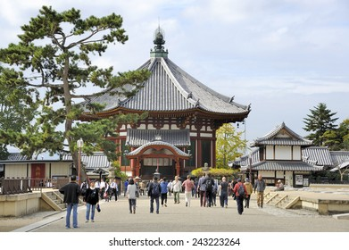 NARA, JAPAN-NOVEMBER 6, 2014; Tourists at the Northern Octagonal Halls of Kofukuji temple.This is an Unesco World Heritage site. November 6, 2014 Nara, Japan