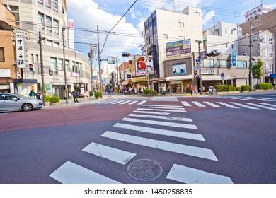 Nara, Japan-October 30, 2018 : Sanjo dori street , Running up the hill from JR Nara Station towards Sarusawa Pond and Nara Park, this is the main shopping street of Nara City.
