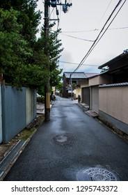 Nara, Nara Prefecture / Japan - 09 08 2013: Small quiet street of Nara