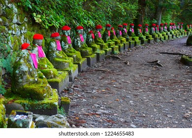 Narabi Jizo Statues or Bake Jizo in Nikko Japan , a bodhisattva who cares for the deceased