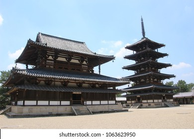 Nara,Japan - 14 May 2017 :The oldest wooden architecture in the world, UNESCO world heritage, Horyuji buddhism temple made by Shotokutaishi in Nara period, 8C.