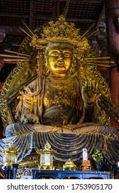 NARA,JAPAN - 19 July 2019: Statue of Nyoirin kannon in the great buddha hall of Todaiji temple.