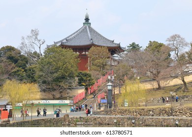 Nara,Japan - March 30, 2017: Around Nara park It is a city park in Nara City, Nara Prefecture and it is the National scenic spot. There are many temples, shrines such as Todaiji temple.