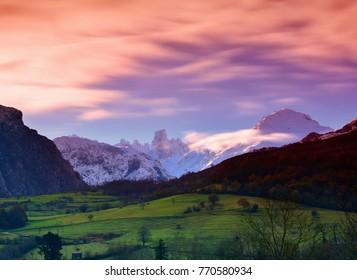 Naranjo de Bulnes (known as Picu Urriellu) in Picos de Europa National Park, Asturias, Spain