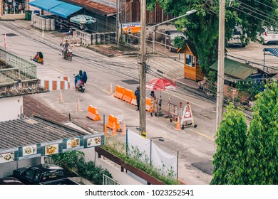 NARATHIWAT, THAILAND - DEC 21, 2017: Top View of Street in Ampur Muang, Narathiwat, with the Soldiers Checkpoint in the City as Security Measure amidst South Thailand Insurgency Conflict