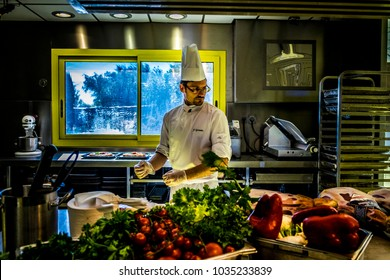 Narbonne, France - October 19, 2016: Interior of Les Grands Buffets, one of the largest French high-level food buffets in the world, Narbonne, France