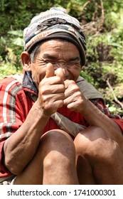 NARCHYANG, MYAGDI – SEPTEMBER 25, 2018 :  Portraiture of Mr. Pun from Narchyang village