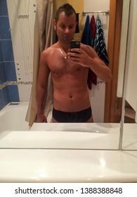 Narcissist Man Selfie in Bathroom