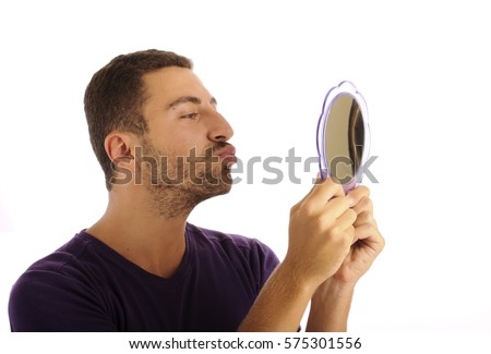 Man Holding Mirror Throughout Narcissist Young Man Holding Mirror Narcissist Young Man Holding Mirror Stock Photo edit Now 575301556