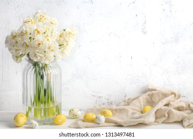 Narcissus flower and easter eggs,White background