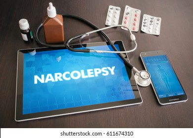 Narcolepsy (neurological disorder) diagnosis medical concept on tablet screen with stethoscope.