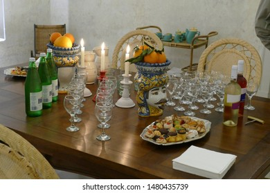 NARDO, ITALY - APR 7, 2019 - Refreshments for a tour group in a luxury hotel  Nardo, Puglia, Italy