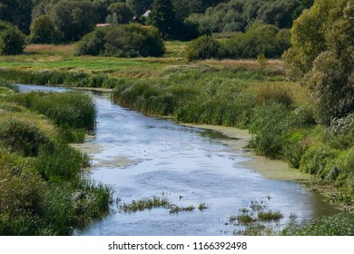 Narev River in summer nearby Bondary village, Podlasie Region, Poland, Europe