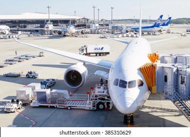 NARITA AIRPORT, NARITA, JAPAN - CIRCA NOV 2015 : All Nippon airways' boeing dock in station