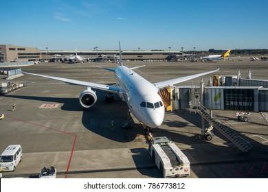 NARITA AIRPORT, TOKYO, 2017 NOVEMBER 25 - Airplane from Japan Airlines at the Tokyo Narita International Airport. Preparing for take-off
