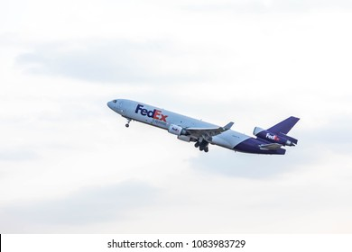 Narita airport, Tokyo, Japan, April 2018 - FedEx aircraft taking off from Narita airport.