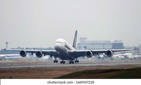 Narita, Chiba, Japan Circa December 2019 : This Airbus A380-841 type code A388 is Operation by Singapore Airlines. The registration number is 9V-SKR. Take off from Nrarita Airport.