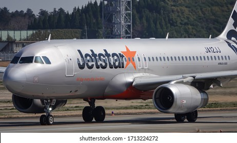 Narita, Chiba, Japan Circa March 2020 : Airbus A320-232 type code A320 is Operation by Jetstar Airways. The registration number is JA12JJ. Take off from Nrarita Airport.