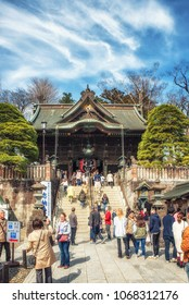 Narita, Chiba/Japan - March 17, 2018: Japanese and tourist in Narita Shinshoji Temple, Old temple in Japan. Narita Japan.