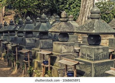 Narita, Japan 17 March, 2018: Funerary urns, Naritasan shinshoji temple, Narita, Chiba, Japan