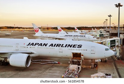 NARITA, JAPAN -6 DEC 2016- Planes from Japan Airlines (JL) at the Tokyo Narita Airport (NRT). Narita is a hub for Japan Airlines (JL) and All Nippon Airlines ANA (NH).