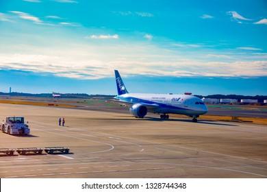 NARITA, JAPAN -6 JAN 2019- Japan Airlines (JL) at the Tokyo Narita Airport (NRT). Narita is a hub for Japan Airlines (JL) and All Nippon Airlines ANA (NH).