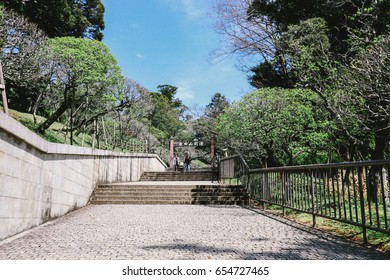 Narita, Japan - April 12, 2017: Naritasan Park at Naritasan Shinshoji. The park is a large garden with a gross area located behind the main building of the temple.