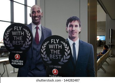 NARITA, JAPAN - JULY 19: Kobe Bryant and Leo Messi on July 19, 2013,Narita, Japan. The sport star on the Turkish Airlines advertisement at Narita Airport. TA was the best airline in Europe in 2012.