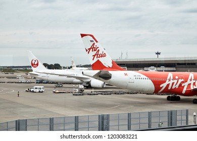 NARITA, JAPAN, Oct 15 2018, Planes from Japan Airlines (JL) at the Tokyo Narita Airport (NRT). Narita is a hub for Japan Airlines (JL) and All Nippon Airlines ANA (NH)., World Travel Concept