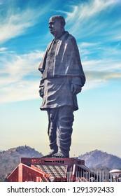 Narmada/Gujarat/India -December 20, 2018, Sri Sardar Vallabhai Patel, Statue of unity, worlds tallest statue 182 metre.