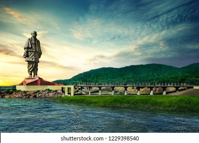 Narmada/Gujarat/India-November 4, 2018.Tourists visiting the world's tallest statue, 'Statue of unity', with a height of 182 metre of Sri Sardar Vallabhai Patel on November 4, 2018,Gujarat/India