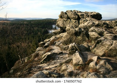 Naroznik, peak with lookout in the Table Mountains ( Gory Stolowe ), National Park, popular tourist attraction, Poland. Sunrise.