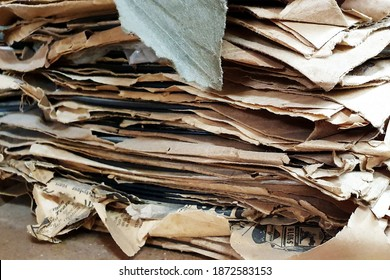 Narrabri, New South Wales, Australia - March 11 2020: Narrabri Old Gaol and Museum, Bowen St, Narrabri. A dusty old pile of vinyl records 78's in brown paper dust jackets.