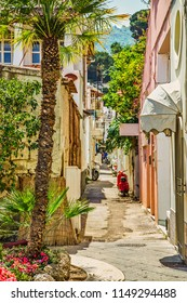 narrow alley of colorful houses in typical village in Ischia islands