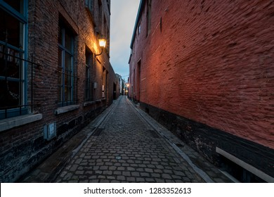 an narrow alley in the heart of Ghent, the capital of East Flanders