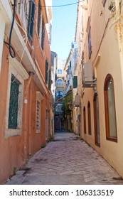 Narrow alley - Old Town, Corfu, Greece