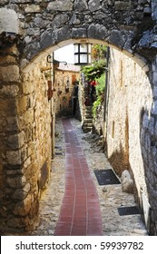 A narrow alley in the picturesque mountain top village of Eze near Monaco in France.
