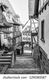 Narrow alley way in Miltenberg in Lower Franconia, Bavaria