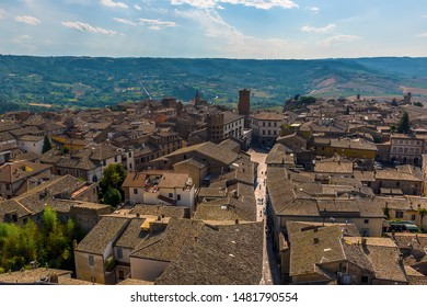 Narrow alleyways and the roof tops of Orvieto, Italy in summer