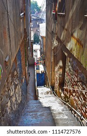 Narrow authentic streets  of Valparaiso town, Chile, South America.