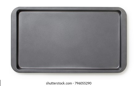 Narrow baking tray with non-stick coating, top view, close-up.