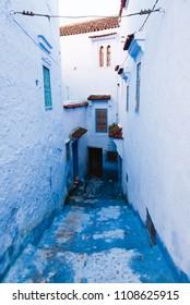 Narrow Blue Alley in Medina, Chefchaouen, Morocco