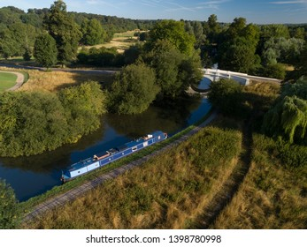 Narrow boat on Grand Union Canal, United Kingdom
