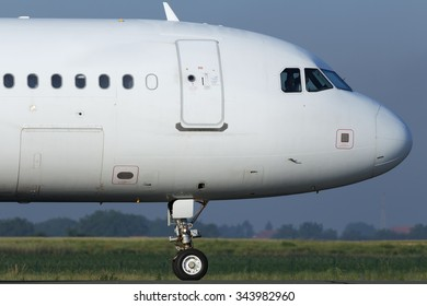 Narrow body jet airplane taxiing for departure