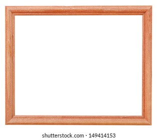 narrow brown simple picture frame with cutout canvas isolated on white background