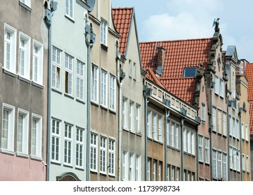 The narrow buildings of Gdansk historic old town (Poland).